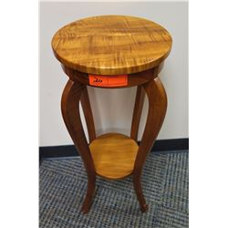 """Furniture - Curly Koa Side Table/Stand, Martin MacArthur, Approx, 29"""" H, 12"""" dia."""