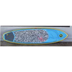 "Surfboard: C4 Waterman, 9'3 SUP Board, Blue & Yellow, Deck Pad/Stomp Pad, Quad Fins Approx 20.5"" x 1"