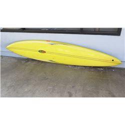 "Surfboard: Eaton Design, Robert August? White & Yellow, Single Fin, Damaged, Approx 23"" x 115"""