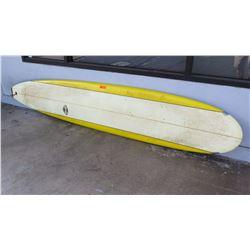 "Surfboard: Mark Martinson, 10' White & Yellow, Single Fin, Damaged, Approx 24.5"" x 120"""