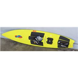 """Surfboard: Stretch, Tow-In Board, Yellow w/Maile Lei, Deck Pads, Approx 16.5"""" x 72"""""""