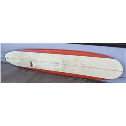 "Surfboard: Mark Martinson, 9'6 Red & White, Single Fin, Approx 22.5"" x 114"""
