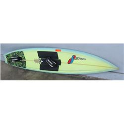 """Surfboard: Stretch, Tow-In Board, Yellow & Blue, Deck Pads, 4 Fins, Approx 17.75"""" x 75"""""""