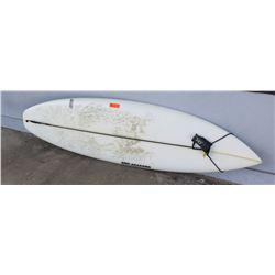 """Surfboard: Eric Arakawa, 6'10, White, Transformer, 4 Fins, Approx 22.5"""" x 82"""" DaKine Leash"""