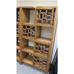"Furniture - Hardwood Shelving System w/Geometric Accents, 5 Shelves, 37.25"" x 16"" x 72.25"""
