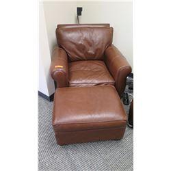 Furniture - Chocolate Brown Leather Seat w/Ottoman