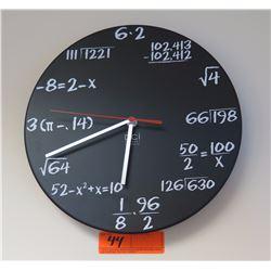 """Algebraic Wall Clock, Chalk/Chalkboard Motif Approx 12"""" Diameter"""