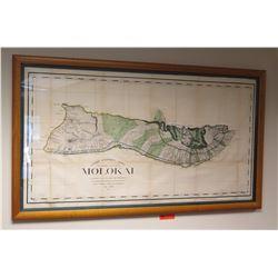"Original 1897 Map of Molokai, Framed, Hawaii Government Survey, 53.5"" x 31.25"""