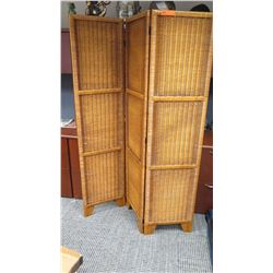"Rattan 3-Panel Room Divider, Approx 71"" Height"