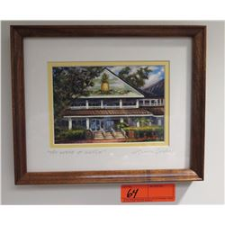 "Framed Art: ""The Lodge at Koele"" (Lanai), by Mike Carroll, Signed, 9.5"" x 11"""