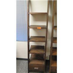 "Furniture - Wooden Shelving Unit, 5-Shelves, Bottom Drawer, Ladder-Style, Dark Hardwood Approx 17"" x"