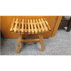"Furniture - Wooden Stool w/Curved Slatted Seat Approx 18.5"" x 12"" x 18.75"""