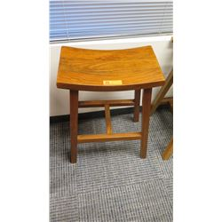 "Furniture - Wooden Bar Height Stool w/Curved Seat Approx 19.5"" x 11.25"" x 29.25"""