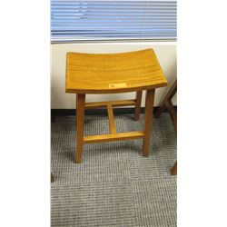Furniture - Wooden Bar Height Stool w/Curved Seat Approx 19.5  x 11.25  x 29.25