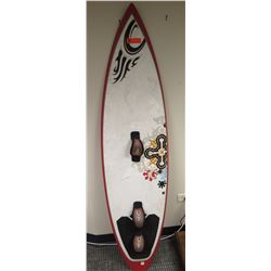 "Surfboard - Tow-In Board, White/Black/Red, Thailand Approx 19"" x 74"""