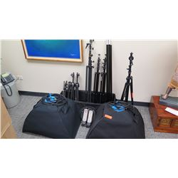 Approx. 8 Tripods and Qty 2 Westcott Spiderlite Lighting Kits (Photography Lighting)
