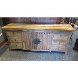 Furniture - Weathered Hardwood Sideboard, 6 Drawers, 75 x 20 x 32 (was recently treated for termites