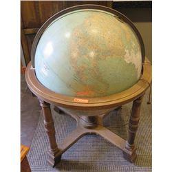 Oversized 40 x 48 Antique Floor Globe, Carved Hardwood, Foam-Like Core (some damage on globe surface