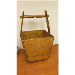 "Antique Chinese Wooden Bucket 14.5"" x 14.5"" x 26"""