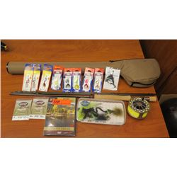 Fly Fishing Rod w/Case, Fly Fishing Lure, Fishing Line, etc.
