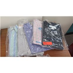 QTY 5 Men's Collared Shirts, Drycleaned, Sz L & XL (Brioni, Oriali,Haupt, etc)