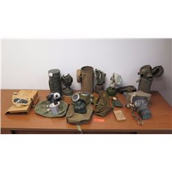 Vintage Gas Masks, Approx. 8 Qty, (not intended for use, collectible purposes only)