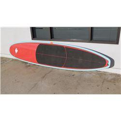 Surfboard: Kyle Bernhardt, Red & Lt. Blue, 3 Fins, Deck Pad