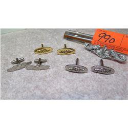 Cuff Links - 3 Pairs Fish/Lighthouse Emblem & Matching Pin