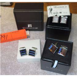 Cuff Links - 3 Pairs w/Cases, Bugatchi, Trafalgar, Heimie's
