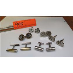 Cuff Links - 6 Pairs, Beretta (purchased for $375), Gears, Industrial Theme, etc. (3 pairs are sterl