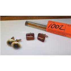 Cuff Links - 2 Pairs, Wood and Natural Shells