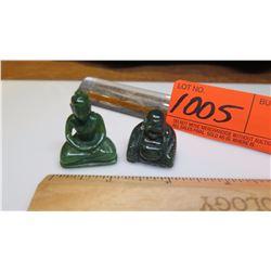 Qty 2 Jade Miniature Sitting Buddha Figurines
