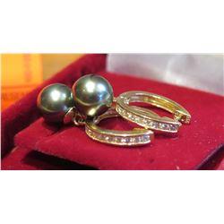 Black Pearl Earrings, 14K Gold Posts, Diamonds?