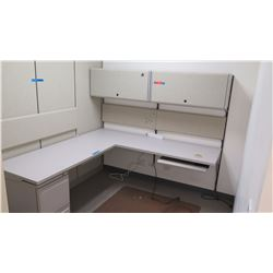 "L-Shaped Desk (2) 6ft sections 24"" wide, w/Under-Desk File Cabinet, Cabinets, Cubicle Walls"
