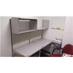 Workstation Utility Desk with Overhead Metal Shelf & Cabinet