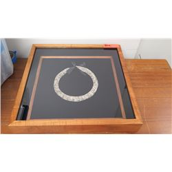 "Feather Lei in Glass/Wooden Frame, Cylindrical, Gray/Lt. Brown, Pauku Style 19"" x 19"" by Boris Kekai"