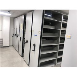 Rolling-Shelf Bookcase System w/7 Back to Back Shelving Sections on a Track (each section slides bac