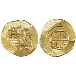 "Mexico City, Mexico, cob 8 escudos, 1711(J), ""ears"" style cross (1711-2), from the 1715 Fleet."