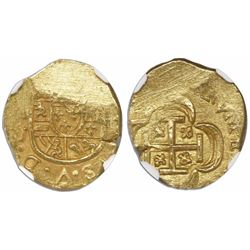 Mexico City, Mexico, cob 1 escudo, (1714)J, encapsulated NGC MS 62, from the 1715 Fleet.