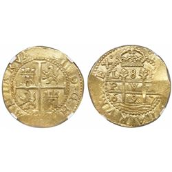 "Lima, Peru, cob 8 escudos, 1697H, ""PVA"" variety, very rare, encapsulated NGC MS 62, finest and only"