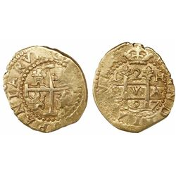Lima, Peru, cob 2 escudos, 1697/6H, very rare, from the 1715 Fleet.