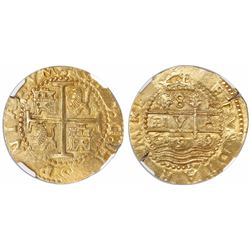 "Lima, Peru, cob 8 escudos, 1699R, variety with ""P.V.A."", short pillars and full HISPANIARVM, rare, e"