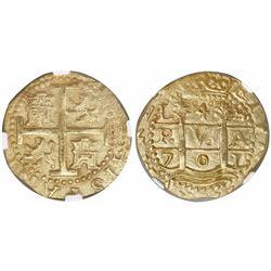 Lima, Peru, cob 4 escudos, 1701H, posthumous Charles II, very rare, encapsulated NGC MS 64, finest a