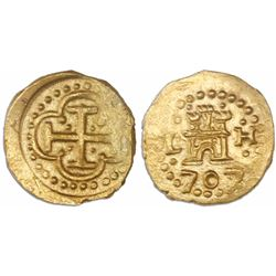 Lima, Peru, cob 1 escudo, 1707/5H, rare, from the 1715 Fleet, Tauler Plate Coin.