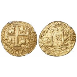 Lima, Peru, cob 8 escudos, 1712M, encapsulated NGC AU 55, from the 1715 Fleet (designated on label).