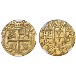 Lima, Peru, cob 4 escudos, 1712M, encapsulated NGC AU 55, from the 1715 Fleet (designated on label).