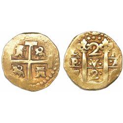 Lima, Peru, cob 2 escudos, 1726M, extremely rare (unlisted).