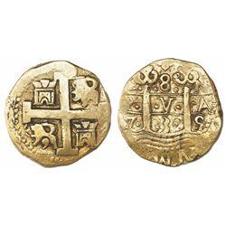 Lima, Peru, cob 8 escudos, 1735N.