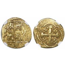 Bogota, Colombia, cob 2 escudos, (1)730(S), encapsulated NGC AU 55.