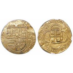 Seville, Spain, cob 4 escudos, Philip II, assayer not visible (Gothic D), encapsulated NGC AU 55.